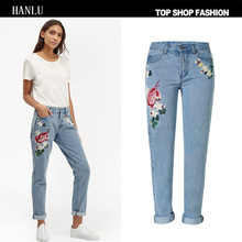 HANLU spring women brand clothing 3D rose embroidery pure cotton straight jeans Female fashion pastoral style denim pants