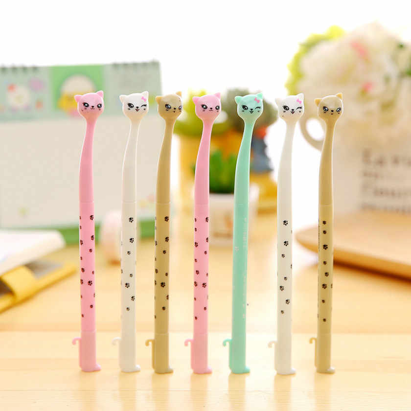 1pcs Kawaii office gel pen Creative cute Lucky Cat pattern school stationery Supplies Black ink 0.5mm Pen refill