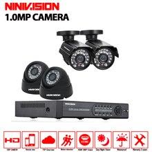 AHD 4CH DVR 1080N Video Recorder HD 720P 1.0MP  Night Vision cctv camera set  Home Surveillance Security Cameras System  kits