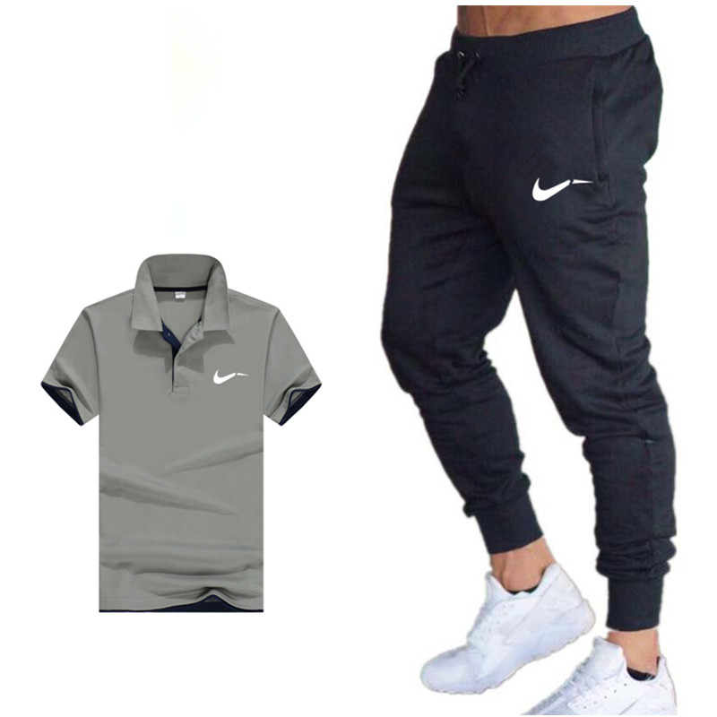 New 2019 Hot Brand  Summer Sale Men's Sets Polo Shirts+Pants Two Pieces Sets Casual Tracksuit Mens Polo Shirt Gyms Fitness Suit