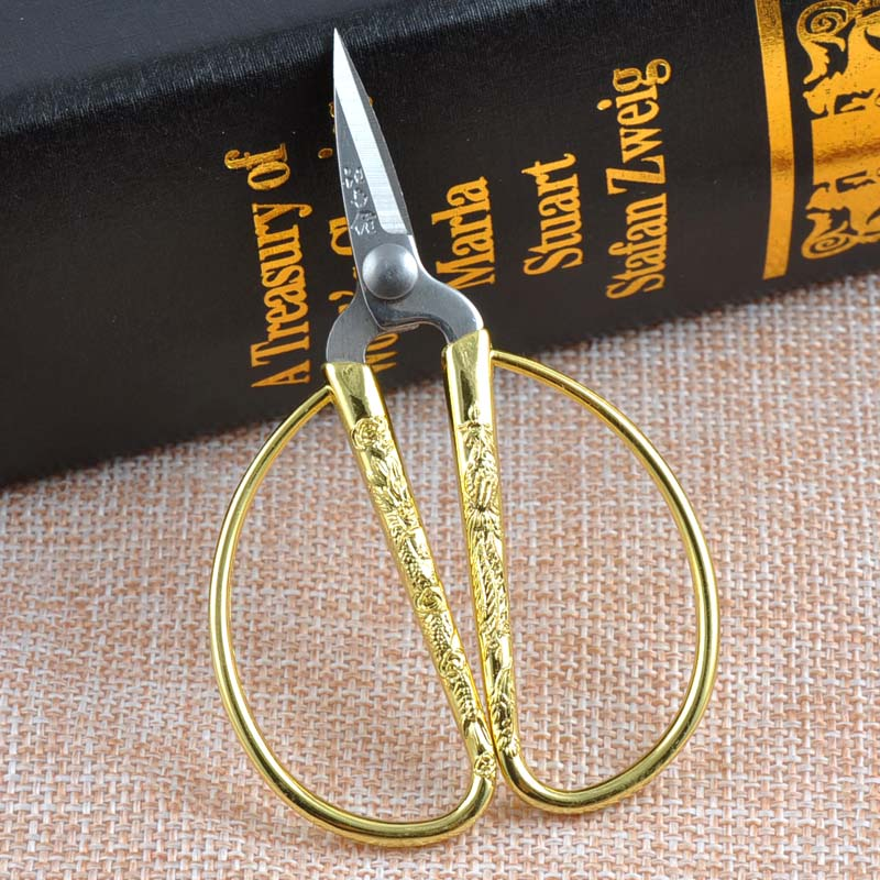 Golden Vintage Style Sewing Scissors Stainless Steel