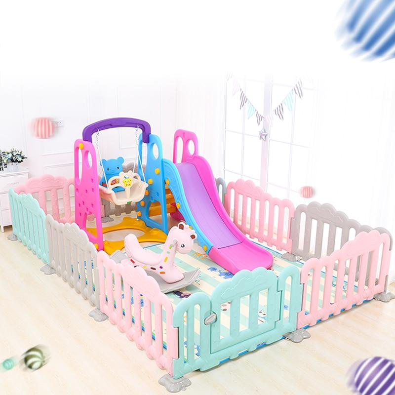 Children's Playground Swing Slide Rocking Horse Baby Playen Fence Baby Indoor Game Park