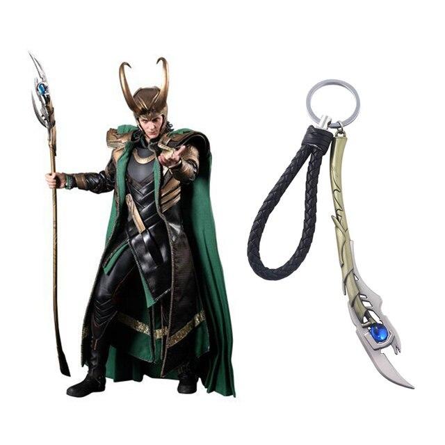 New Style 4 Marvel The Avengers Action Figure Keychain Loki Cetro Thor Martelo mjolnir KeyChain Homens e Mulheres Presente chaveiro