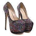 Bombas de preto clássico cabeça Redonda mulheres sapatos Coloridos sapatos de plataforma diamante sapatos de salto alto sexy sapatos de noiva banquete stiletto sapatos