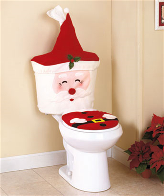 2017 New Fancy Santa Toilet Seat Cover And Toll Paper Cover Set Christmas  Decorations For Natal