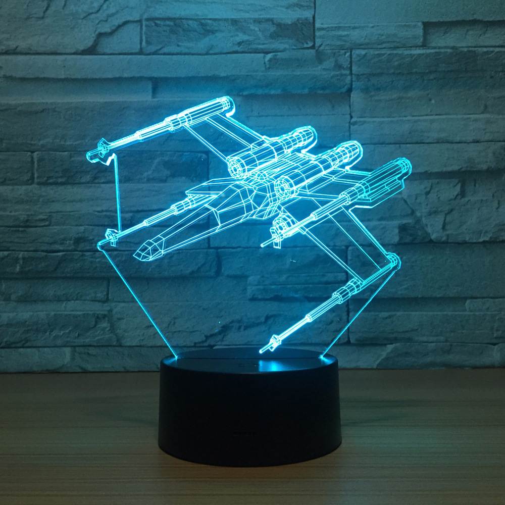X Fighter 3D Illusion Lamp 7 Color Plane Led 3D Night Lights Star Wars Touch Usb Table Lampara Lampe Baby Sleeping Nightlight цена