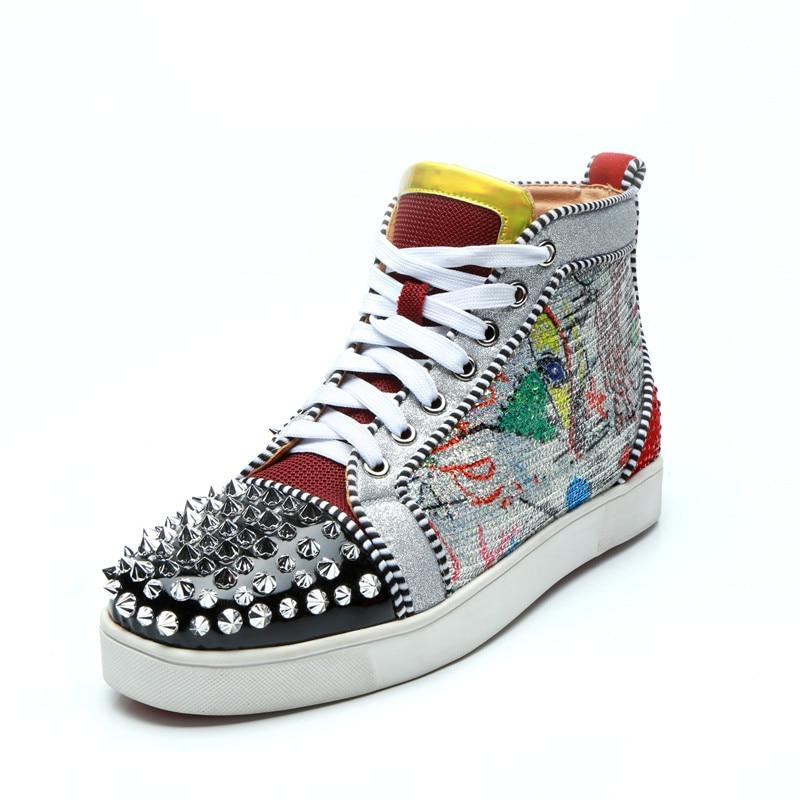 Pista up Pico Hommes colorido 2019 Lace Chaussure Glitter Alta Multi Plana Sapatos Homens Pintura Sneaker Graffiti Rebite De Top Qianruiti Z0BIfI