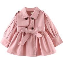 Jacket Windbreaker Trench-Coat Toddler Girls Baby Kids Khaki Pink Fashion for Lapel-Belt