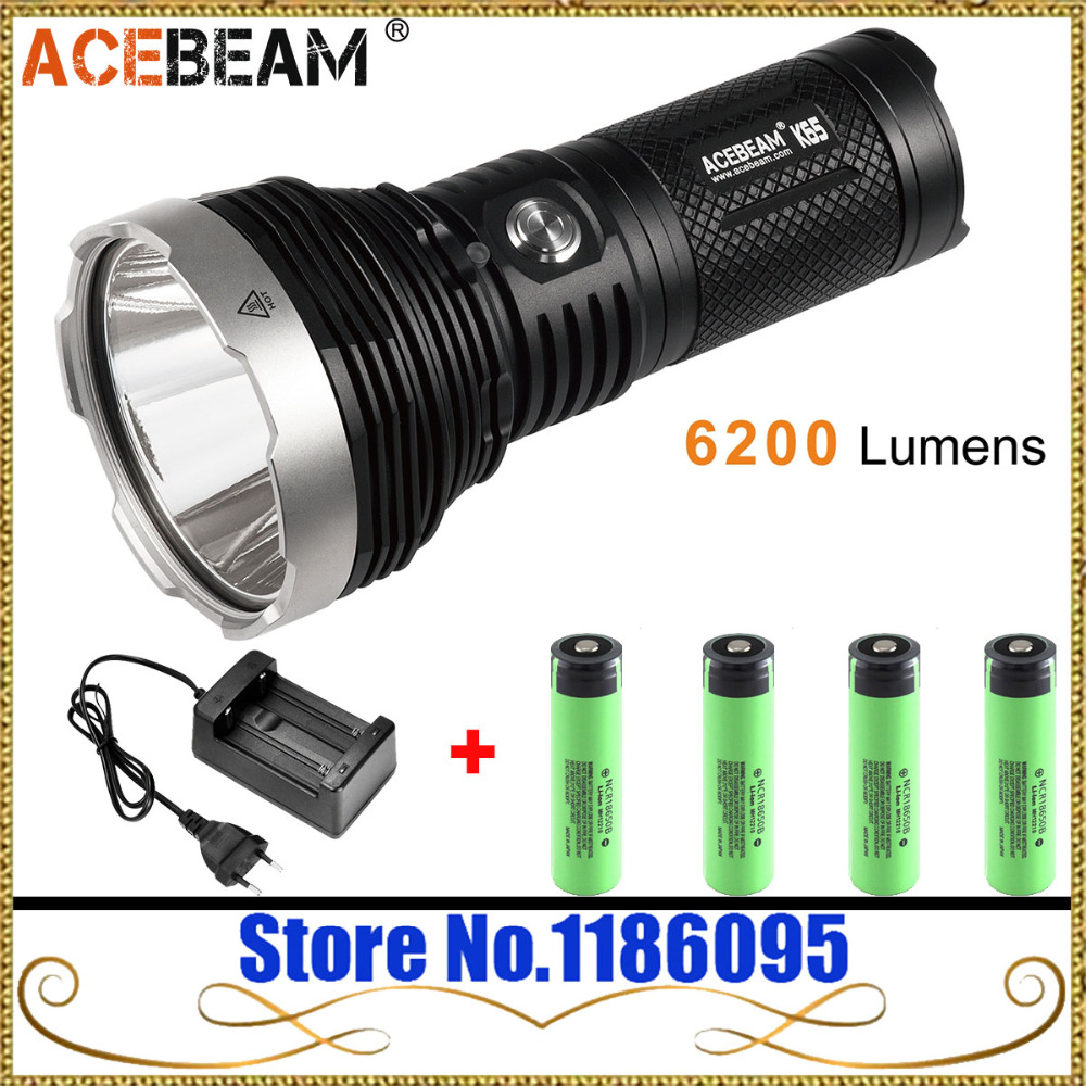 Acebeam K65 Flashlight Cree XHP70.2 de-moed LED MAX. 6200lumens Throw 1000M outdoor search torch light for camping (6500K)