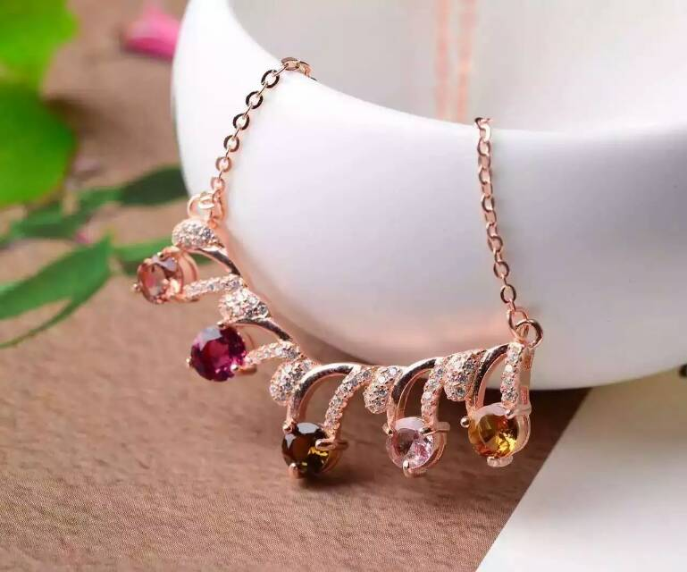 Natural multicolor tourmaline Necklace natural gemstone Pendant Necklace S925 silver Fashion Elegant Flowers girl party Jewelry natural tourmaline pendant s925 silver natural gemstone pendant necklace elegant friendship boat lucky women girl gift jewelry
