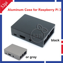 Free Shipping Metal aluminum enclosure Black/Gray Case for Raspberry Pi 3 Model B with heat sink stick
