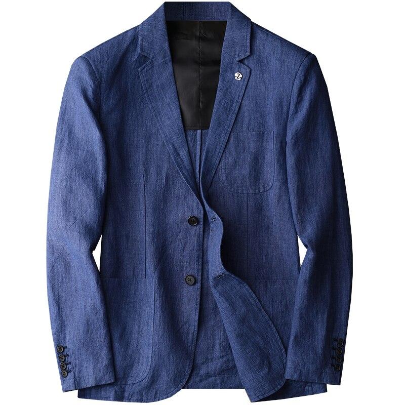Nouvelle arrivla mode lin naturel tissu costume décontracté jeunesse tendance petit printemps manteau simple boutonnage Blazer hommes grande taille M 3XL 4XL-in Blazers from Vêtements homme    1