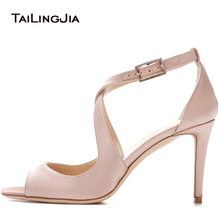 Size 34-46 Women High Heel Sandals Peep Toe Heels Shoes Women's Fashion Nude Black Sandals Black bow Wedding Party Lady Pumps padegao women sandals 2017 fashion high heels wedding party shoes for women lady sandals plus size pu snake peep toe zipper
