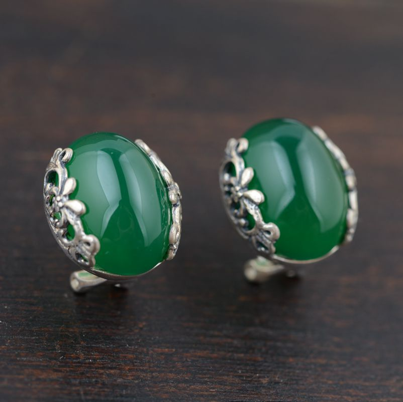 Chrysoprase earrings wholesale S925 Sterling Silver Electroplating mosaic style the new styles of female simple Earrings