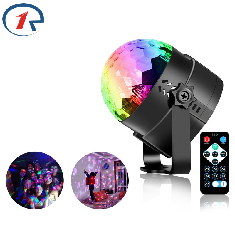 ZjRight IR Remote Crystal Rotating Ball LED RGB Stage Lighting KTV - Komerční osvětlení