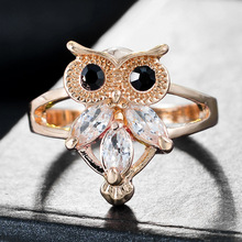 все цены на Cute Female Small Owl Animal Ring Fashion Silver Gold Color Crystal Wedding Jewelry Promise Love Engagement Rings For Women Gift онлайн