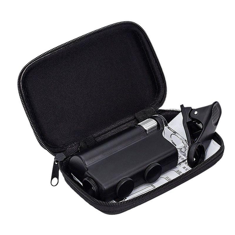 60X-100X Zoom Microscope Loupe LED + Uv Lumière Clip-sur Micro lentille pour Téléphone Mobile IPhone 8 7 6 6 s Sangsung w/Cadeau Sac