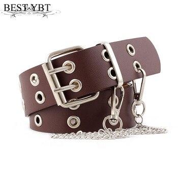 Best YBT Women Belt Imitation Leather Pin Buckle Belt New Punk Wind Jeans Fashion Individual Decorative Belt Chain Women Belt