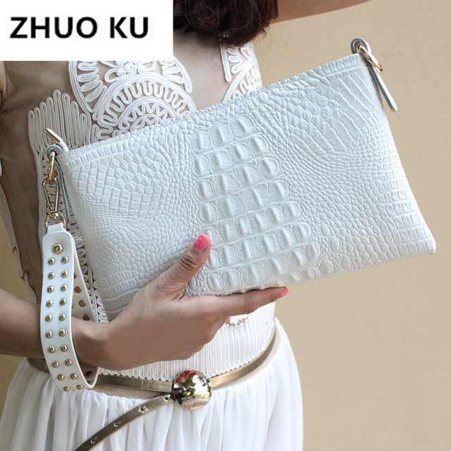 White Envelope Evening Clutch Bag Crocodile Pattern Leather Genuine