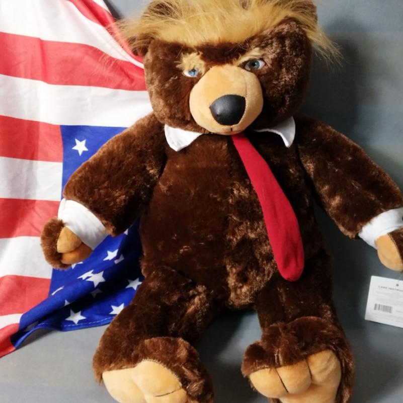 60cm Donald Trump Bear Plush With US flag-themed blanket Toys Cool TV USA President Trump Plush Teddy Bear Kids Friends Gifts