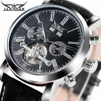 JARAGAR Luxury Brand Fashion Self-wind Mechanical Watches Mens Day Date Business Sport Wrist Watch 2020 New Leather Band Clock