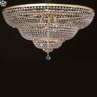 Işıklar ve Aydınlatma'ten Tavan Işıkları'de Altın Tavan Işıkları Modern Kristal lamba otel lambası yatak odası lambası yüksek kaliteli Avrupa tarzı ışıkları lamba D90cm x H50cm