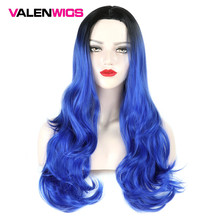 ValenWigs Ombre Wig Two Tones Lace Front Human Hair Synthetic Wigs Hair Heat Resistant Glueless Wavy Cosplay Hair Wigs For Women
