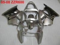 Литой обтекатель для кузова обтекатель комплект для Kawasaki Ninja ZZR600 05 08 серебряный черный Обтекатели ZZR600 2005 2008 OT25