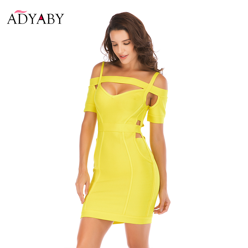 Vestidos Sin Hombros Mujeres Verano 2019 Moda Amarillo