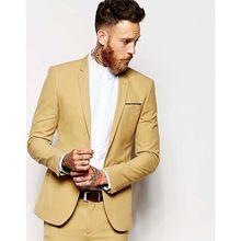 Casual yellow Men Suit Slim Fit Groom Tuxedos 2 Piece Mens Wedding Party  Suits Groomsman Bridegroom Attire (Jacket+Pants)A123 5525ac60f6f0