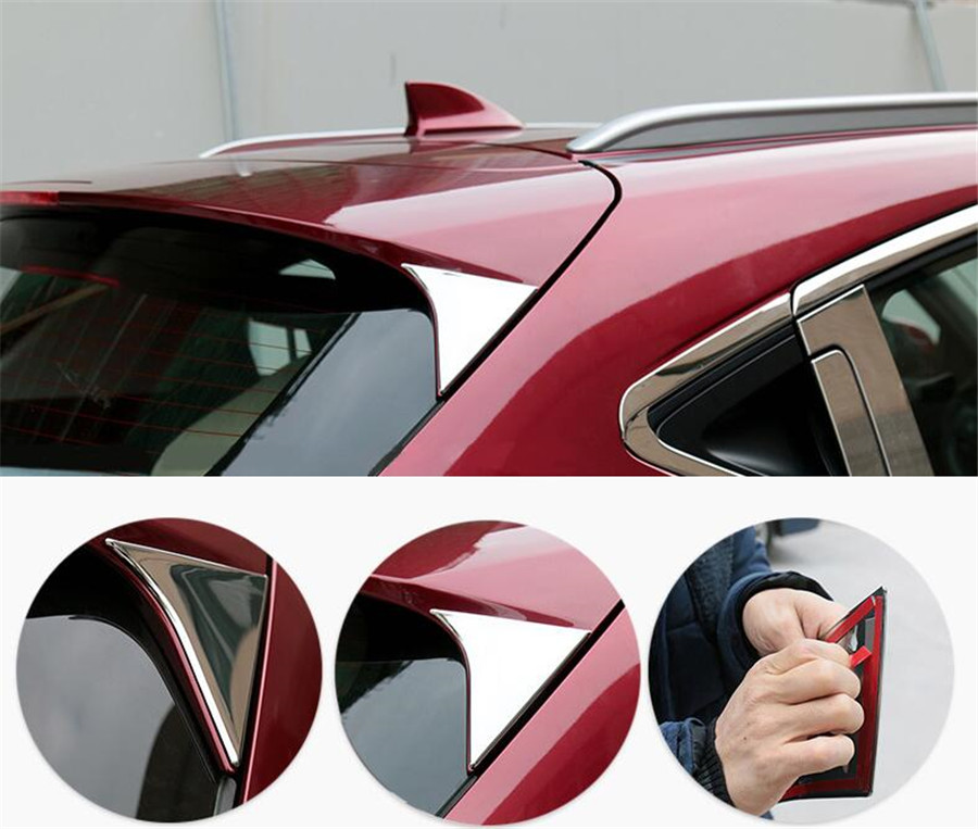 For <font><b>Honda</b></font> Vezel <font><b>HRV</b></font> HR-V 2015 Car Rear Window Triangle Decoration <font><b>Trim</b></font> Sequins Car-styling Chromium Mouldings ABS 2PC image