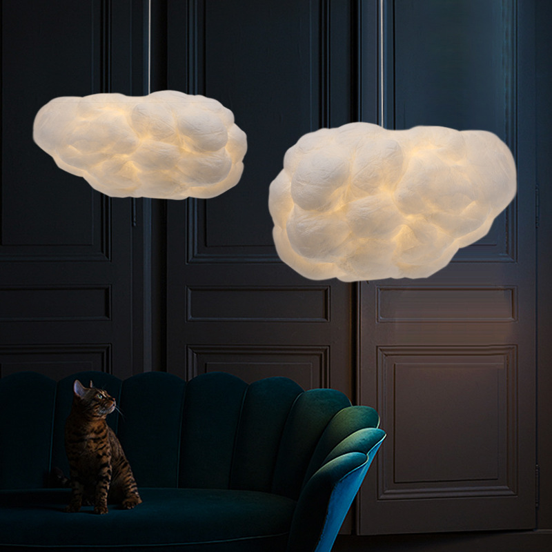 Floating White Clouds Chandelier Silk Cloud Lights Hotel Lobby Art Bedroom Decoration Designer Creative Engineering Lamps