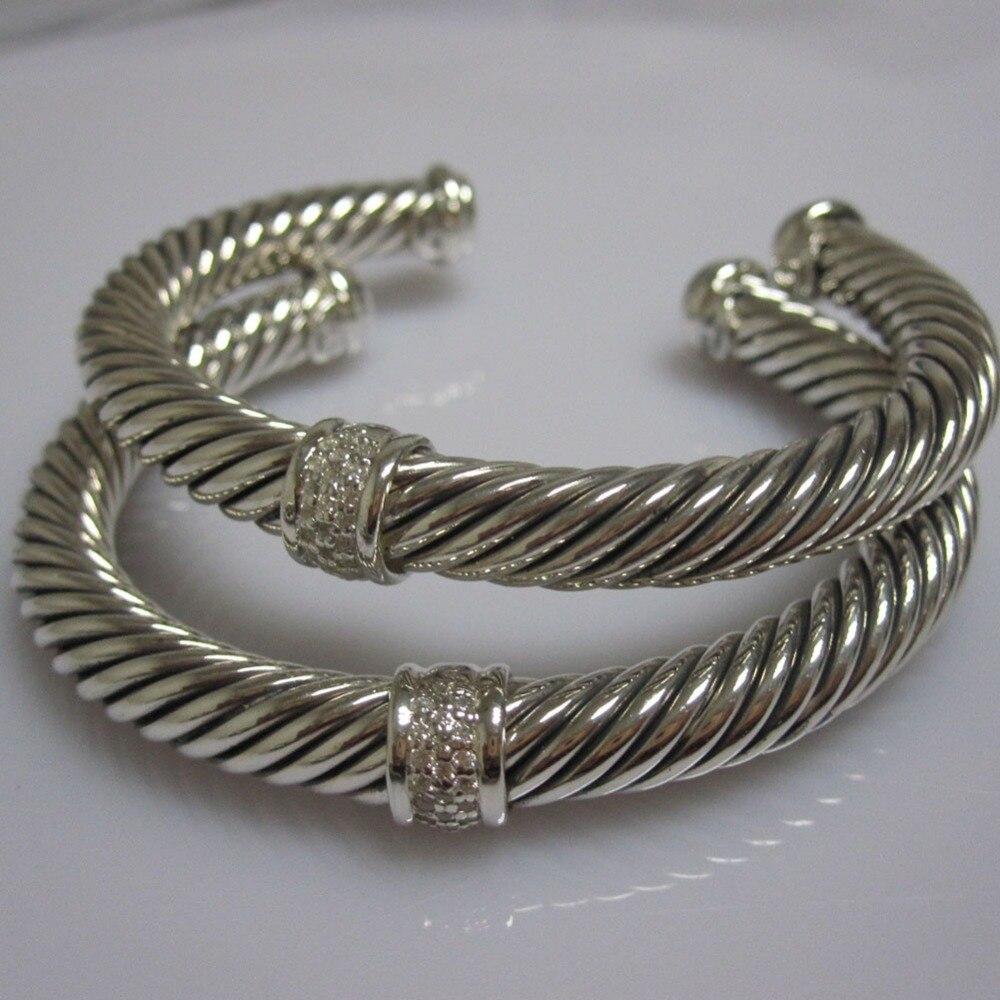Bijoux en argent Sterling 7mm pavé de diamants Bracelet de câble Bracelet fin de mode femmes Bracelet cadeaux de saint valentin