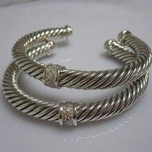 Sterling Silver Jewelry 7mm Pave Diamonds Cable Bracelet Fine Bracelet