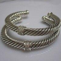 Sterling Silver Jewelry 7mm Pave Diamonds Cable Bracelet Fine Bracelet Fashion Women Bracelet Valentine's Day Gifts
