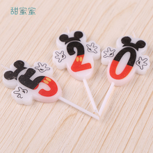 цена на 10pcs /package Happy Birthday Candles Mickey Minnie Birthday Candles Cake Decoration  Cake Number Age Candle