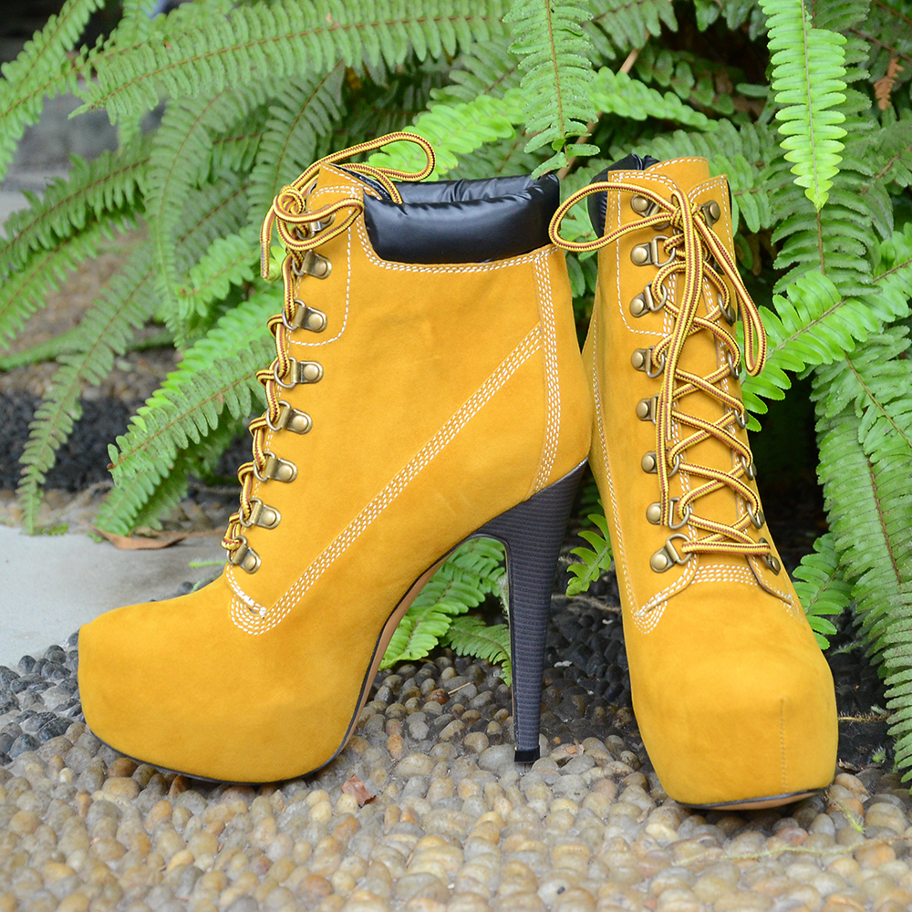 ФОТО Nancyjayjii Suede Yellow Almond Toe Stiletto High Heel Hidden Platform Sexy Winter Women ankle boots Lace Up Women Boots Shoes