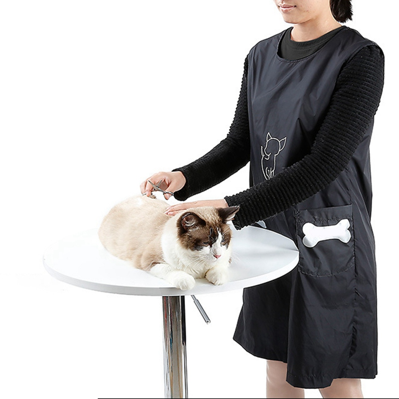 Nylon Dog Cat Grooming Apron with Pockets Waterproof Puppy Black Beautician Smock Clothes font b Pets