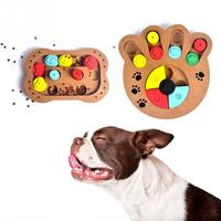 Vintage Wooden Pet Dog Leakage Toys Puppy Cat IQ Traning Claw Bone Shape Food Plate Feeder