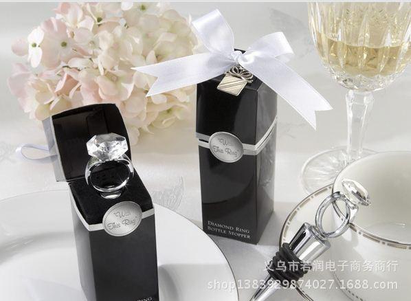 150pcs / lot 홈 파티 웨딩 호의 크리 에이 티브 다이아몬드 반지 와인 병 스톱 절묘 한 포장
