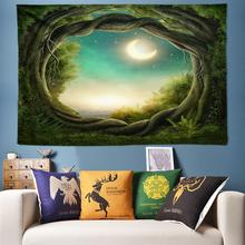 2019 Nature Tree Hole Tapestry Wall Hanging Moon 3D Home Decoration Art Boho Rug Background Cloth