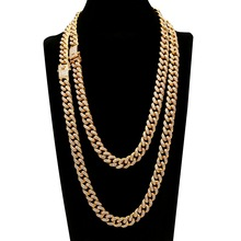 Hip Hop Full Rhinestones Iced Out Miami Curb Cuban Chain Necklace 50-75cm Length Gold Paved CZ Bling Necklaces For Men Jewelry