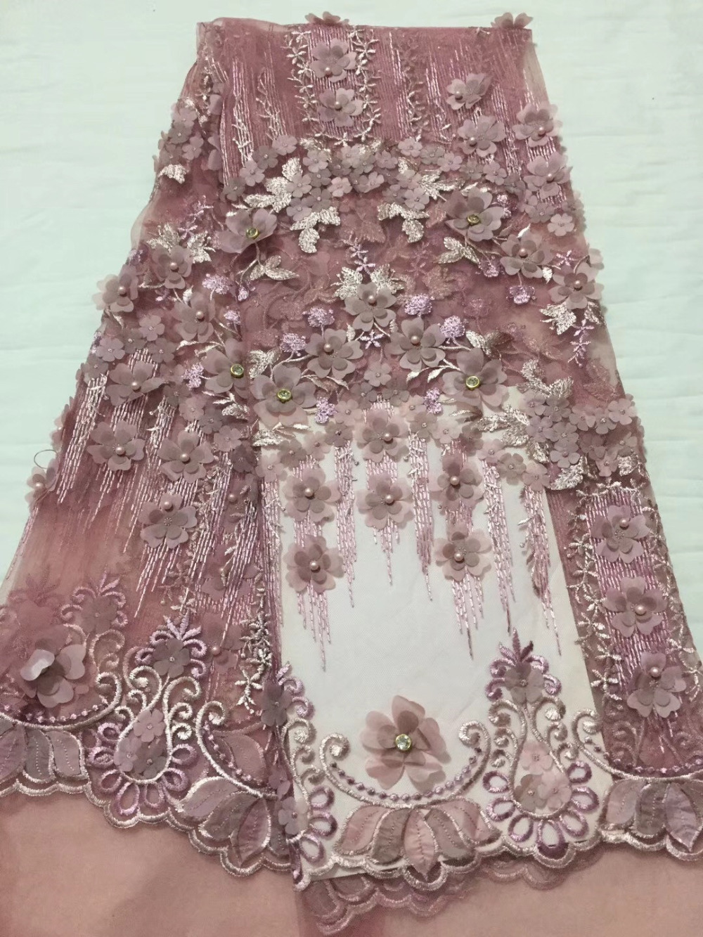 Multicolor African Wedding Dress Beaded Stones Lace Guipure Embroidery Tulle Applique Lace Nigeria 3D French Lace Fabric