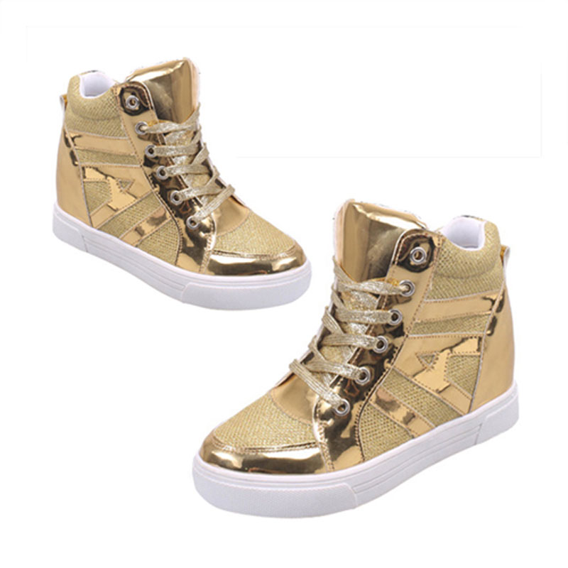 Hot Fashion Women Height increasing Breathable casual shoes Patchwork Vogue Leisure Shoes Black Gold Silver 3Colors пуф patchwork colors