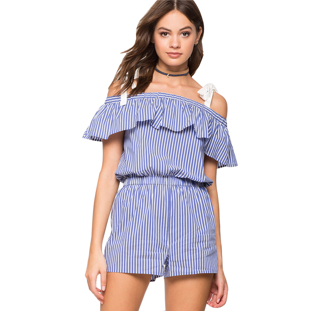 242e48397bd YJSFG HOUSE Sexy Women Blue White Striped Jumpsuits Short Rompers Casual  Ruffled Beach Playsuit Overalls Off Shoulder Catsuit