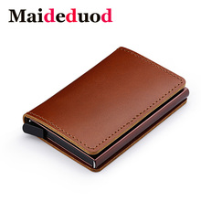 купить Maideduod  RFID Blocking 100% Genuine Leather Credit Card Holder Aluminum Metal Business ID Cardholder Slim Card Case Mini Walle дешево