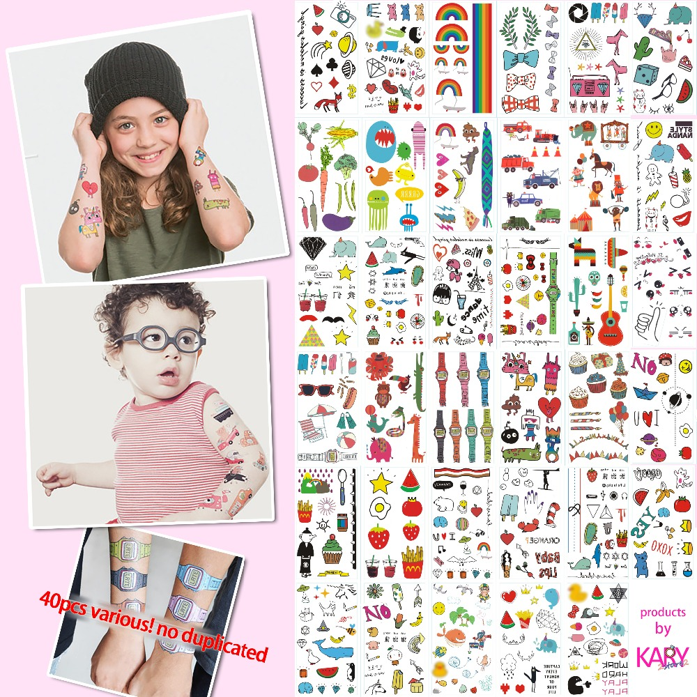 40pcs Various Children's Temporary Tattoos No Duplicated Creativity Art  Cartoon Waterproof Stickers Toys For Kids Drop Shipping