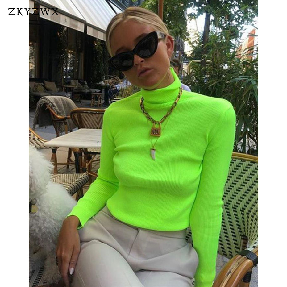 873adb521 Turtuleneck ZKYZWX Primavera Camisola De Malha Das Mulheres de Manga Longa  Roupas Casuais Malha Femme Pullovers Streetwear Blusas Verde Neon