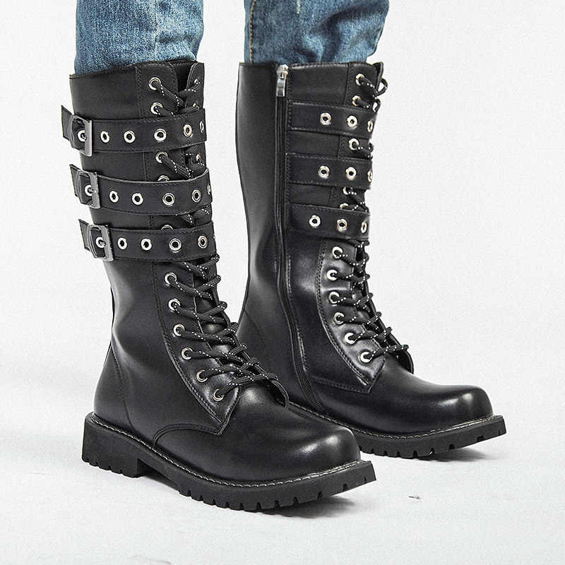 0a70db058 ... ZERO MORE Zipper Army Boots Men High Military Combat Boots Metal Buckle Mid  Calf Male Motorcycle ...