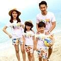 Бесплатная доставка лето семья взгляд комплект мода ребенка матери отца сын мальчики девочек семья футболки + брюки наряды